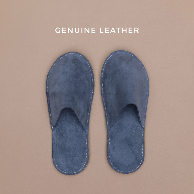 Lounge Slippers in Gray Suede Leather