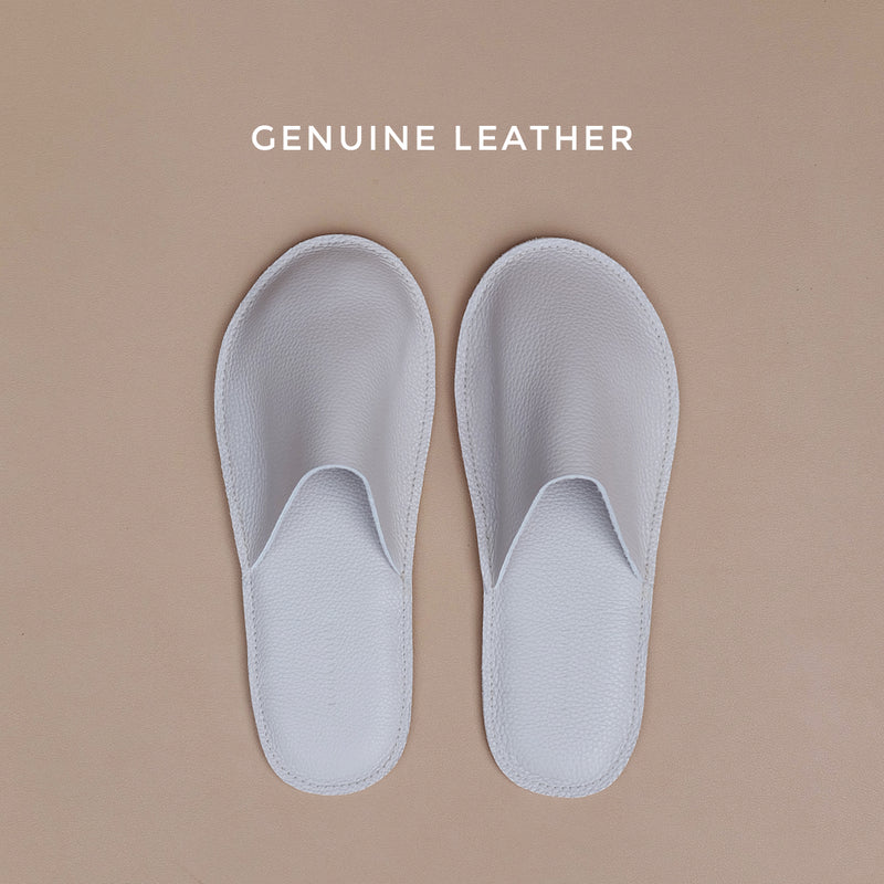 Lounge Slippers in Light Gray Leather