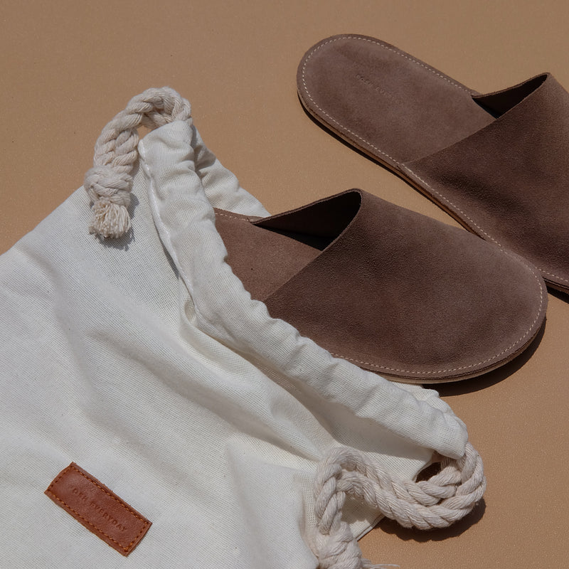 Lounge Slippers in Mocha Suede Leather