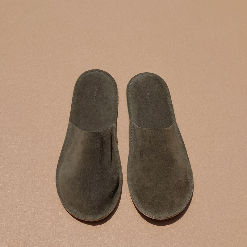 Lounge Slippers in Olive Suede Leather