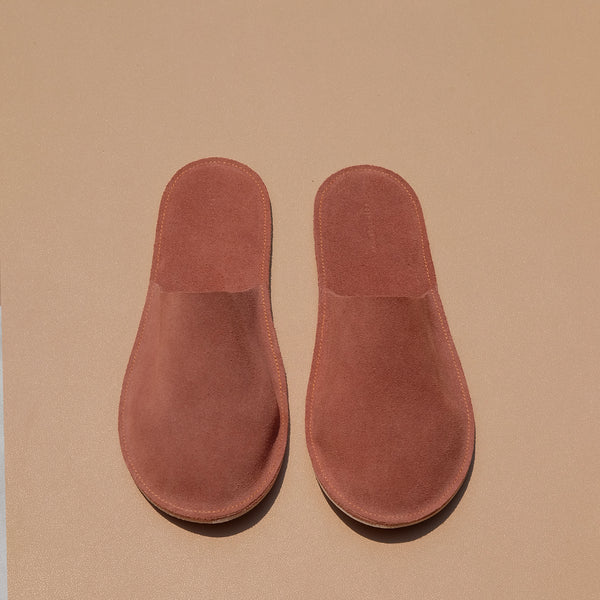 Lounge Slippers in Rust Suede Leather