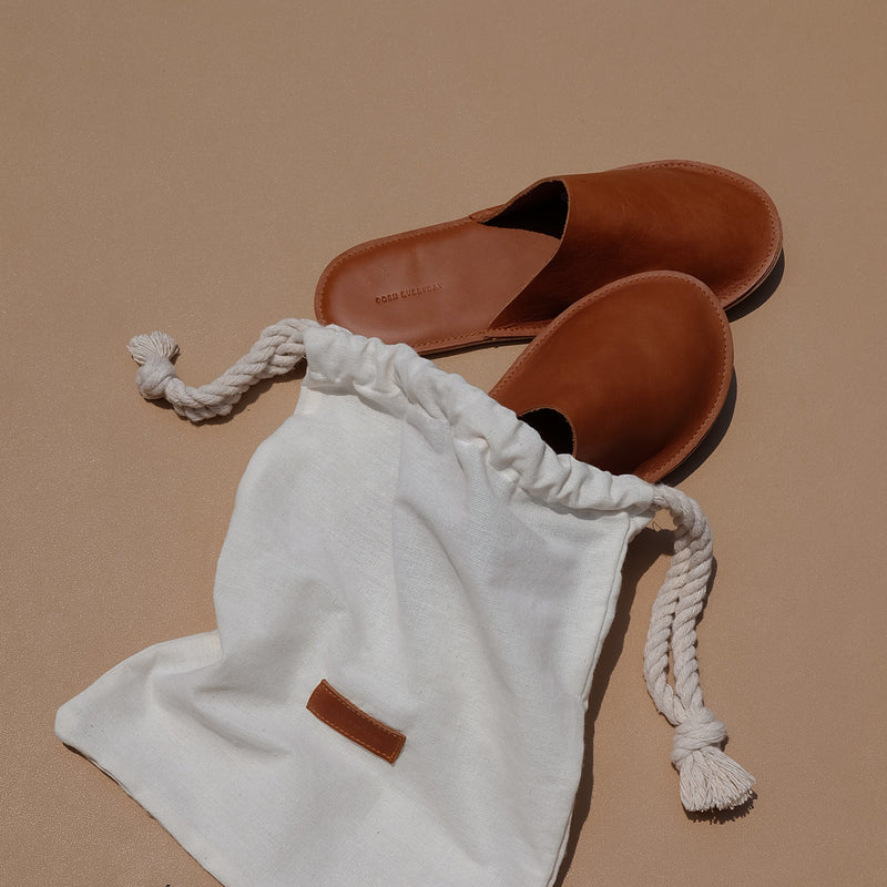 Lounge Slippers in Tan Leather