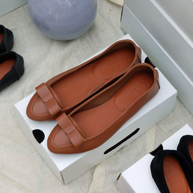 Mini Bow Loafers in Tan