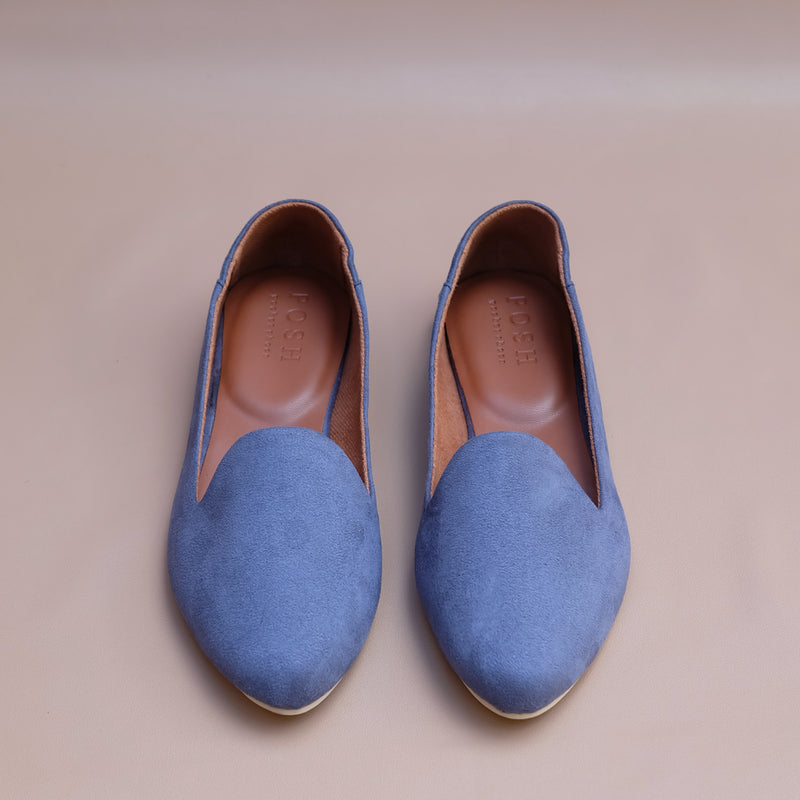 Smoking Slippers in Dusty Blue Suede
