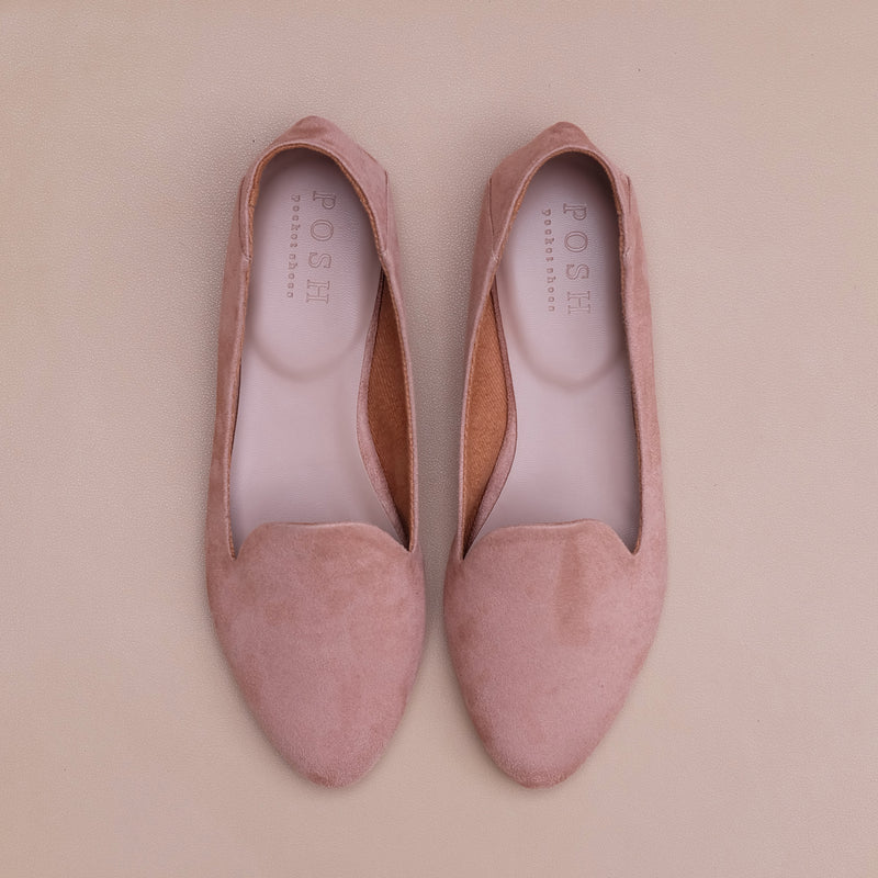 Smoking Slippers in Dusty Pink Suede