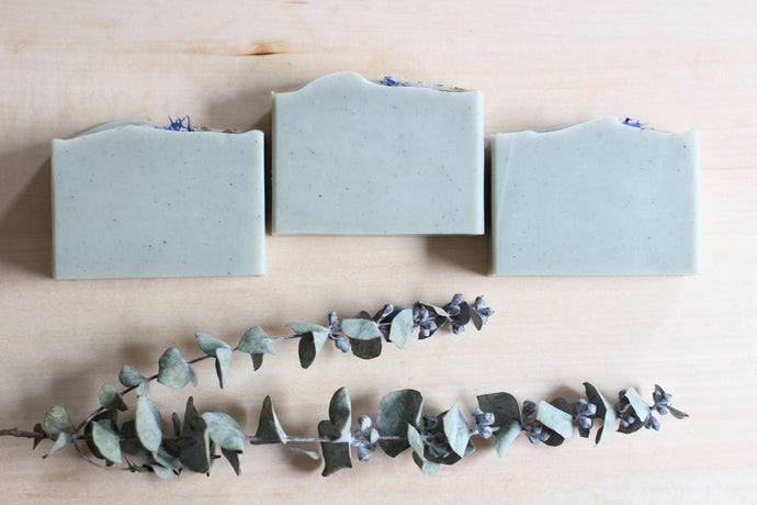 Nat Botanicals Eucalyptus Mint Natural Soap with Cambrian Blue Clay | Palm-Oil Free and Vegan Soap.