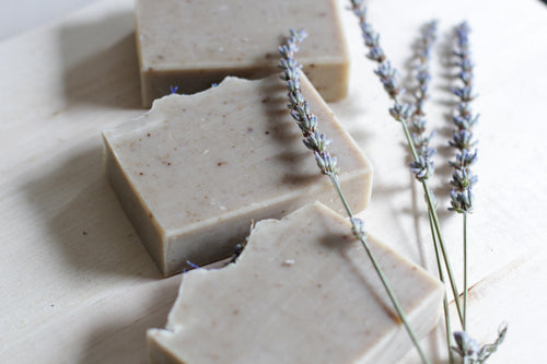PURE LAVENDER Relaxing Natural Soap, infused with ground lavender & pure lavender essential oil