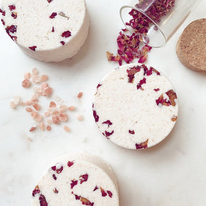 ROSE & BERGAMOT Natural Bath Bomb with Pink Himalayan Salt & Coconut Oil