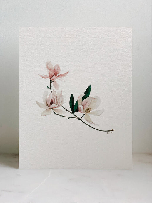 Watercolor Magnolia Print