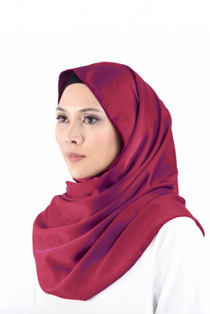 Satin Silk Snood in Maroon