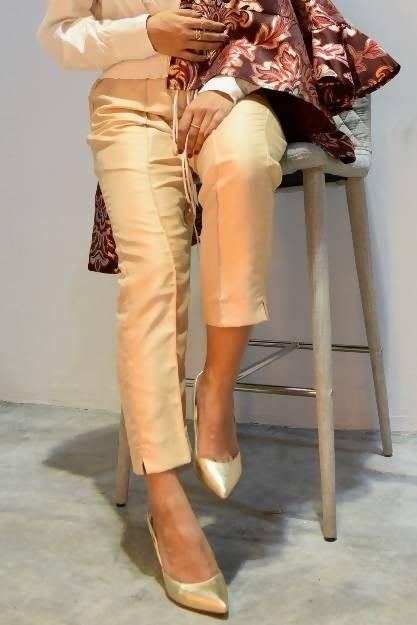 Textured Shantung Pants in Sand Beige