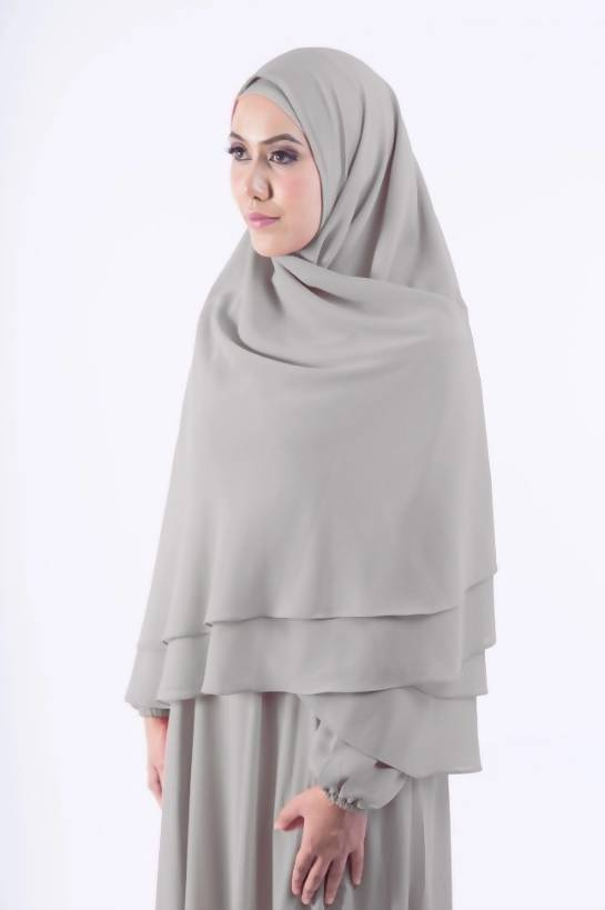 Khimar Jubah Dress Set in Grey