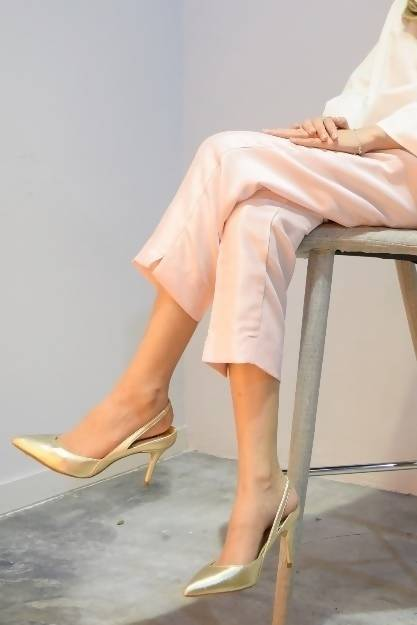 Textured Shantung Pants in Baby Pink