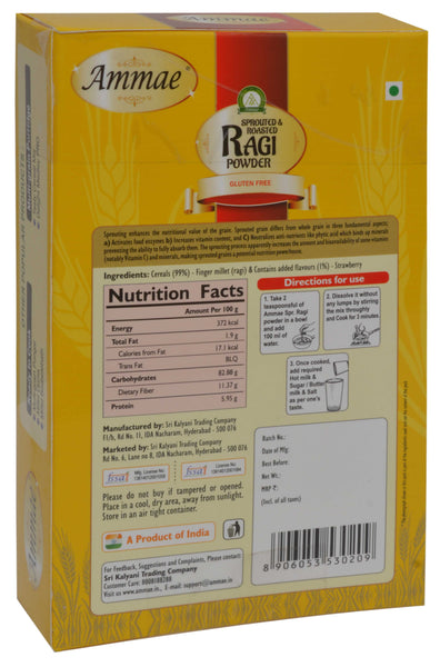 Ammae Sprouted & Roasted Ragi Powder, Strawberry Flavour (Ragi Malt Instant mix)