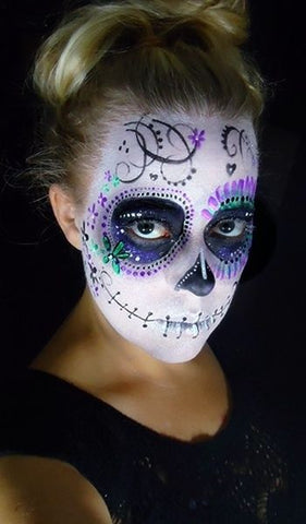 Purple and Turquoise Sugar Skull makeup from Skullspiration.com