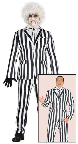 Adult Men's Beetlejuice Black and White Striped Suit
