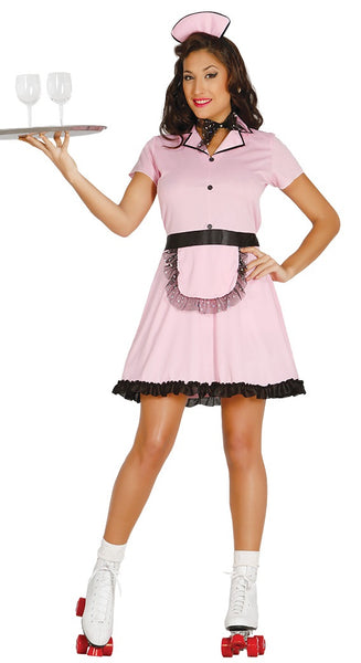 Pink roller waitress costume
