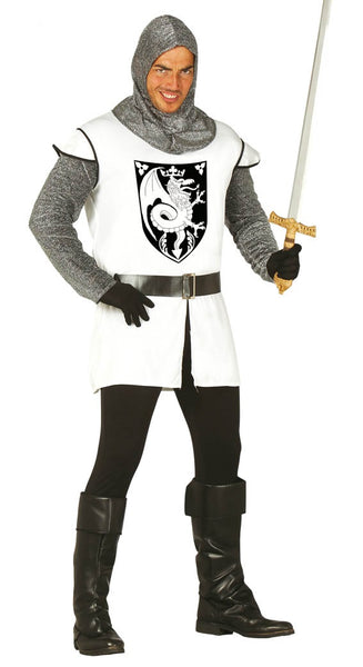 White medieval knight costume
