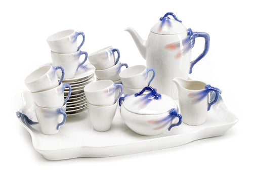 Dragonfly coffee set in underglazed porcelain by Rörstrand. 16 pieces including very rare tray.