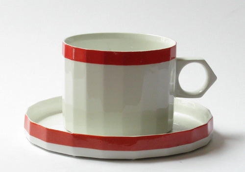 Coffee Cup Röd Kant by Gustavsberg. First year of production 1968.