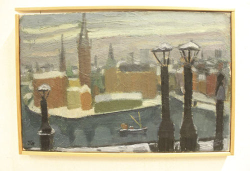 Oil on canvas with motive Riddarholmen