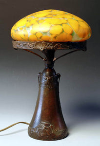 Table lamp made of bronze with butterflies as decoration. Signed Dec A. Granberg A.B. E