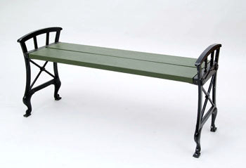 Two Näfveqvarns cast iron benches with wooden seat.