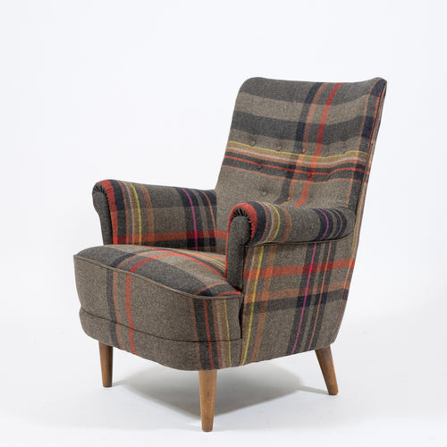 "Nyklädd fåtölj Hemmakväll av Carl Malmsten. Klädd i tyget Exaggerated Plaid av Paul Smith H: 84cm, B: 75cm, D: 75cm Lounge chair ""Hemmakväll"" by Carl Malmsten with new fabric"
