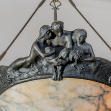 Load image into Gallery viewer, Jugendtaklampa Karl Hulterström i patinerad brons och alabaster, signerad. 85cm hög och diam. 68cm. An art nouveau ceiling light in bronze by Karl Hulterström, signed.. H: 85cm/33,5″ and diam. 68cm/26,8″