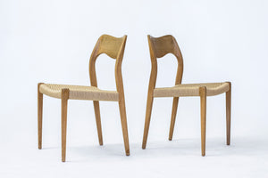 "Stolar i ek och med ny snörsits. Formgivna av Hovmand Olsen för J.L. MÖLLER, 1950-tal. H: 80cm, B: 49,5cm, D: 49cm. Pris: 5900 kr/st. Oak chairs with new paper cord. Designed by Hovmand Olsen for J.L. MÖLLER, 1950's. H: 80cm/31,5"", W: 49,5cm/19,5"", D: 49cm/19,3"". Price: SEK 5900/each"