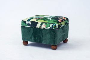 "Nyklädd pall i tyget ""Jungle Jive"". H: 38cm samt 55cm X 45cm. Stool with new fabric ""Jungle Jive"". H: 38cm/15"" and 55cm/21,7"" X 45cm/17,7""."