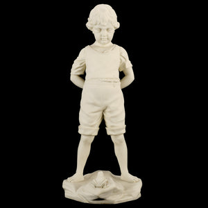 "Parianfigurin från Gustavsberg, ""Pojken och Grodan"". 49cm hög. Märkt GUSTAVSBERG 1922. Parian figurine, ""Boy and the Frog"" by Gustavsberg. H: 49cm/19,3"". Marked GUSTAVSBERG 1922."