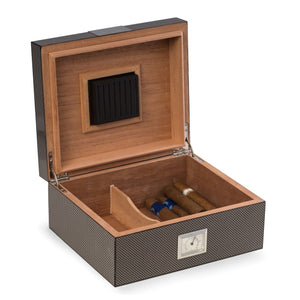 Carbon Fiber Humidor Cedar Lined with Hygro & Humis