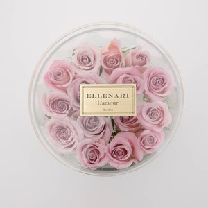Bisou - 16 Roses in Round Acrylic Box