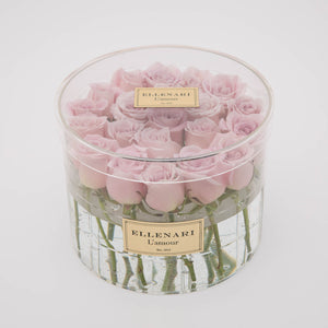 Bisou - 21 Roses in Round Acrylic Box