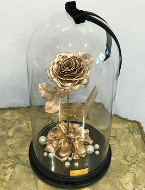 Large Dome with Single Gold Gilded Rose