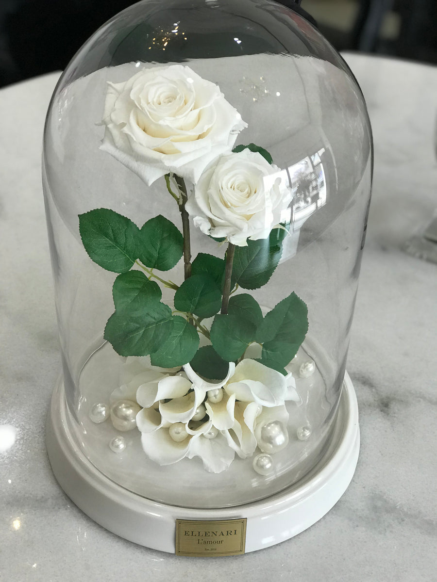 Medium Dome w/ Extra Large + Classic Size Roses - White Base