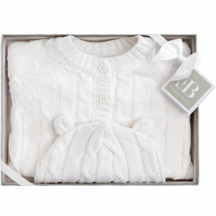 Sweater & Hat with Ears in white Gift Boxed