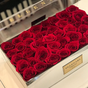 Glam - 40 Roses in Mirrored Box