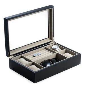 Matte Black Wood Valet and Watch Box