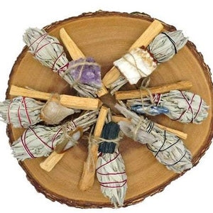 Sage/Palo Santo With Assorted Rough Stones