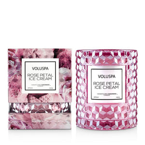 Voluspa Rose Petal Ice Cream Candle with Cloche