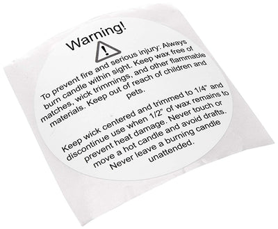 "MESS 3"" Candle Warning Stickers Labels for Jars and Containers/Large Round Labels Self Adhesive Caution Disclaimers (250 per Roll)"
