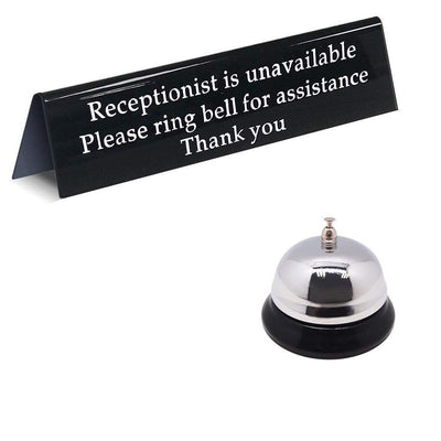 Call Bell and Away from Desk Receptionist is Unavailable Sign