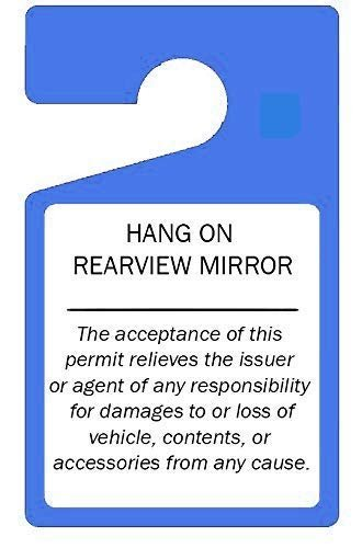 "Parking Permit Hang Tags (Blue) - 10 Tough Thick Re-Usable Weatherproof Passes for Car Or Vehicle Rear View Mirror/Perfect for Employees, Residents, Tenants and More 3"" x 5"" by MESS"