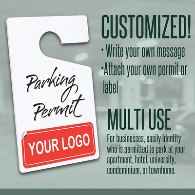 "Parking Hang Tag Blank White Customizable Parking Permits 3"" x 5"""