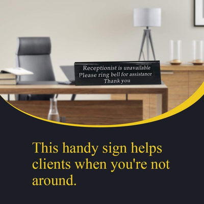 "Ring Bell Sign For Desk Receptionist Is Unavailable A-Shape Desk Sign (7.9x1.8"")"