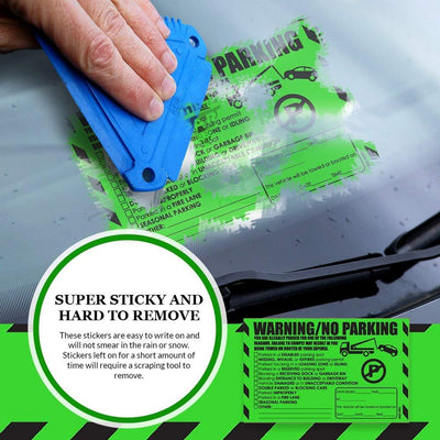 "Parking Violation Stickers for Cars (Fluorescent Green) - 10 Illegal Warning Reserved, Handicapped, Private Parking and More/No Parking Hard to Remove and Super Sticky Tow Warnings 8"" x 5"" by MESS"