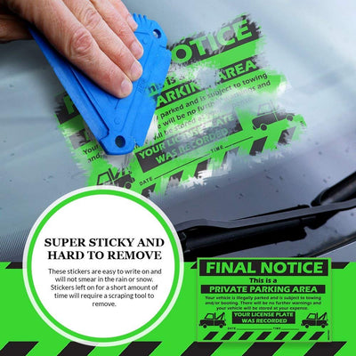 "MESS Parking Violation Stickers for Cars (Fluorescent Green) - 50 Final Notice Private Parking Tow Warning/No Parking Hard to Remove and Super Sticky Adhesive 8"" x 5"""