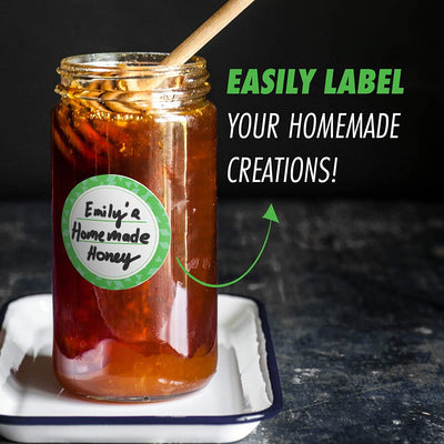 "Dissolvable Canning Labels For Mason Jars and More (2"" Round 200/roll) No More Sticky Gunk!"